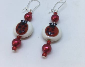 Ladybird Glass and Red Pearl Dropper Fashion Trend Earrings by JulieDeeleyJewellery on Etsy Ladies Jewelry Gift Ladies Handmade Gift