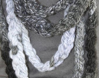 XMAS IN JULY up to 50%off Sale Hand Knit Long Infinity Wrap Scarf, in Black, Gray and White tones and made of Bulky Yarn