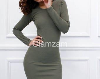 ON SALE Glamzam 'Kylie'  New Womens Ladies Long Sleeve Bodycon Khaki Olive Green Pencil Mini Dress
