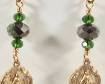 Bright Bronze Miraculous Medal Catholic Earrings Jewelry Confirmation Gift