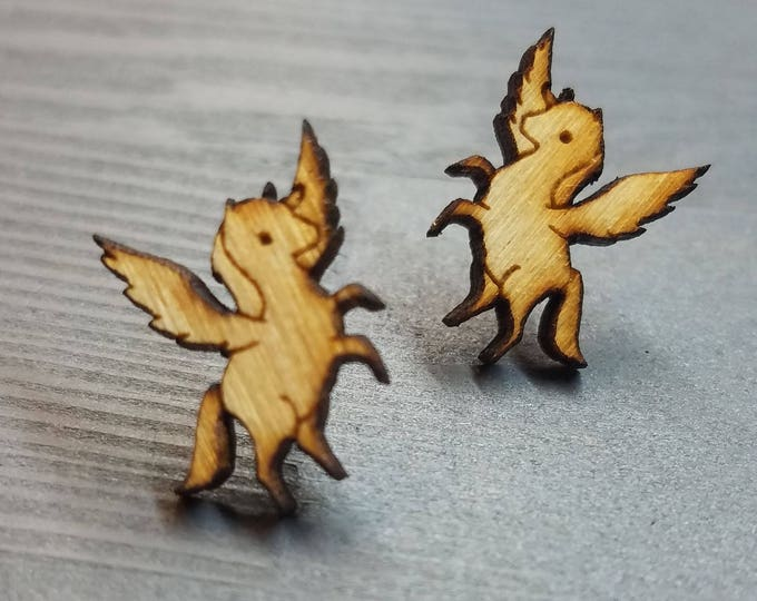 Winged Pegasus Earrings | Laser Cut Jewelry | Hypoallergenic Studs | Wood Earrings