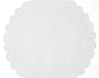ON SALE White Paper Lace Doilies, 5 Inches Wide, Set of 50 Embossed Normandy Lace Doilies, Made in USA