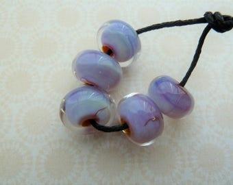 handmade lampwork glass beads, silver pink encased set UK