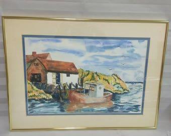Vintage Signed Nautical Motif Watercolor Painting, Coastal Signed Watercolor Wall Art