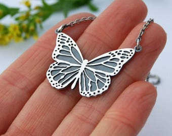 Monarch necklace sterling silver intricate butterfly wing necklace
