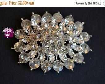 ON SALE FLATBACK Large Rhinestone Metal Crystal Clear Embellishment 55mm x 44mm - Flower Centers - Buttons - Wedding Bridal Prom Jewels Whol