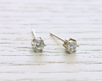 ON SALE Delicate simple everyday sterling silver white topaz studs earrings
