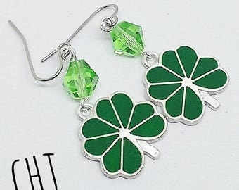 Four leaf clover earrings, St. Patrick's Day, green crystal earrings, handmade, ready to ship, free shipping, gifts for her, made in Montana