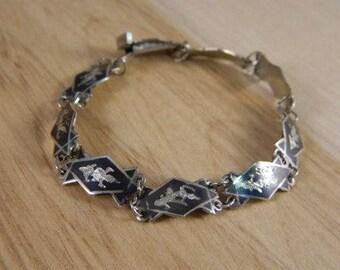 Vintage Siam Sterling Silver Bracelet / Thailand Niello Mekkala Goddess of Lightning Dancer Link Bracelet / Siam Jewelry