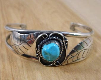 Vintage Sterling Silver Large Turquoise Bracelet / Native American Blue Turquoise and Metal Silver Leaves Cuff / Heavy Cuff Bracelet