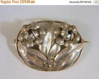 ETSYCIJ Hobe Sterling Silver Art Nouveau Flower Brooch / Vintage 1930s Floral Pin / Designer Silver Flower Brooch