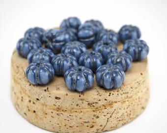 Blue beads,Ceramic beads,Pumpkin beads,Beads for necklace,Pottery beads,Small beads,Glazed beads,Craft supplies,Jewelry making,Beads