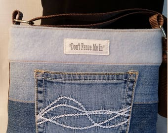 Denim and Cashmere Top Slim Line Cross Body has Western Tooled Pleather Bottom with Barb Wire Pocket