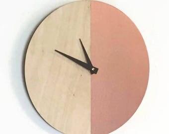 Wall Clocks, Rose Gold Wall Clock, Wood Clock, Home and Living, Wall Clocks, Home Decor