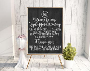 18x24 Unplugged Ceremony Sign, Wedding Chalkboard Printable, No photos Wedding, Instant Download