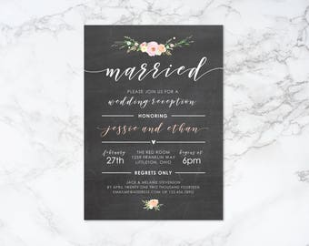 Printable Watercolor Flowers and Chalkboard Reception Invitation