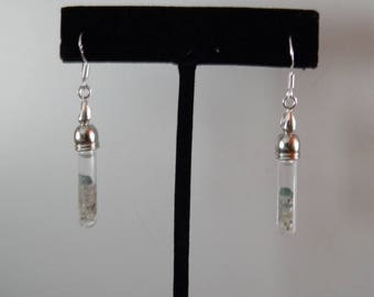 Blue and White Diamond Vial S.S. Earrings