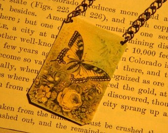 Butterfly necklace butterfly art jewelry mixed media jewelry