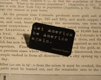 Langston Hughes brooch lapel pin Let America Be America Again
