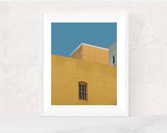 Digital download | URBAN POP NO.1 | minimalist photo | architecture print | pop art inspired | bright blue, mustard | printable wall art