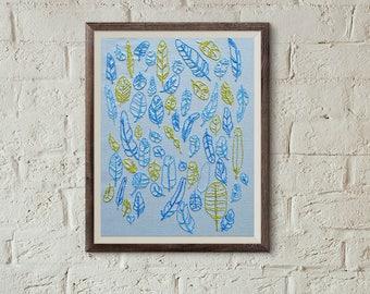 Beginner Needlepoint Design, feathers embroidery pattern, home decor, diy hoop art, modern hand embroidery, beginner embroidery pattern
