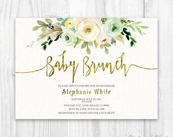 neutral floral baby shower invitation brunch for baby invitation baby girl invites boho