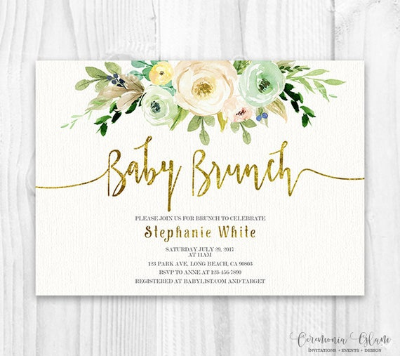 Neutral floral Baby Shower Invitation Brunch For Baby Invitation
