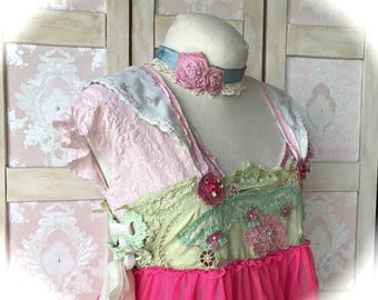 Cute Cottage Blossom Shabby Rose and Ivy Tiered Corsetted Garden Dress Sweet Scrumptious OOAK Size M/L