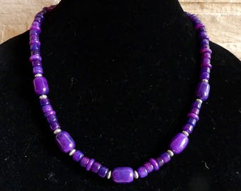 22 Inch Chunky Purple Sugilite Jasper Necklace with Earrings