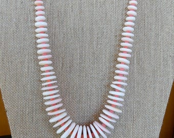 Rare 18 Inch Graduated Conch Shell Necklace with Salmon Coral Beads with Earrings