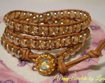 Boho Bracelet, Leather Wrap, Gypsy Wrap Bracelet, Beaded Wrap Bracelet  - 975