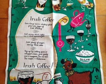 vintage new old stock mid century linen towel / wall hanging / table runner - irish coffee