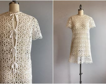Vintage 60s Lace Mini Dress / 1960s Mod Sheer White Cotton Lace Summer Sheath Beach Cover Up