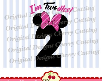 I'm Twodles Minnie number 2 SVG DXF Birthday Silhouette & Cricut Cut Files BIR32 -Personal and Commercial Use