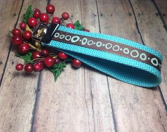 Teal Blue and Brown Key Fob, Short Lanyard,  Key Wristlet, Key Fob Wristlet, Stocking Stuffer, Teacher Gift, Christmas Gift, Gift for Mom