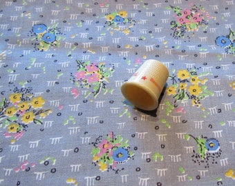 pink, yellow and blue on gray floral print vintage cotton fabric -- 36 wide by 1 1/4 yards
