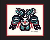 Lovebirds 10X12 Matted Art Print Tlingit Northwest Native American Artist Israel Shotridge