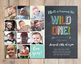 SUMMER SALE Wild One 1st First Birthday Invitation Printable or Printed Cards
