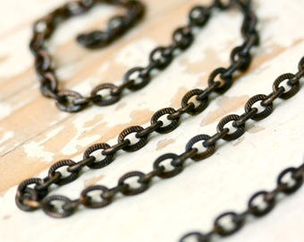 6ft 5mm x 6mm Etched Flat Brass Cable Chain Antiqued Solid Brass, Flat Oval Hammered Link Textured
