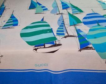 Vintage Gucci Silk Crepe Sailboat Scarf