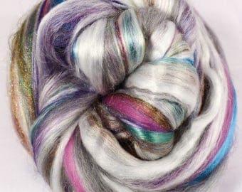 Abalone -( 2 oz.)  Custom blended top - Pearl Fiber/  Merino / Mulberry Silk/ Rainbow Trilobal Firestar  ( 25/25/40/10 )