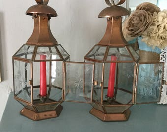 Set of Two Vintage Copper Candle Lanterns,Pair of Lanterns,Etched Glass