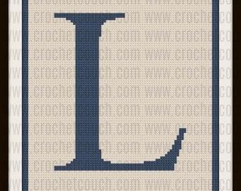 Letter L Twin Blanket, C2C Graph, Crochet Pattern