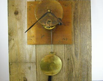 1900's Ansonia Regulator Wall Clock Parts. Gorgeous Large Brass Pendulum. Original Metal Hands. Intact Brass Parts. Assemblage. Brooklyn, NY