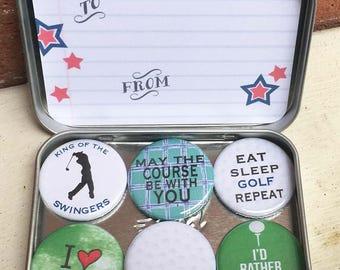 Golf magnets, Golf Lover's gift set, set of 6 ceramic magnets