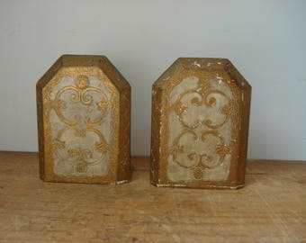 Vintage Florentine Book Ends/Italian Florentine Book Ends/Vintage Office Accessory/gold and white Florentine