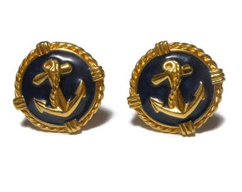 Blue nautical earrings, blue and gold, button style, gold anchor on blue enamel with gold rims, nautical clip earrings, attributed to Avon