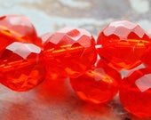 10 mm Czech glass beads - faceted in orange tangerine