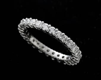 Eternity Diamond Wedding Ring, Classic Shared Prong Diamond Wedding Ring, Natural Diamond Wedding Band, Conflict Free Platinum 2.4mm
