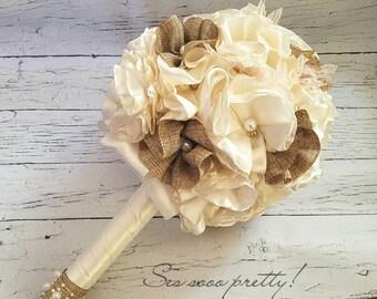 Natural burlap flower Bridal Bouquet, Bridesmaid bouquet